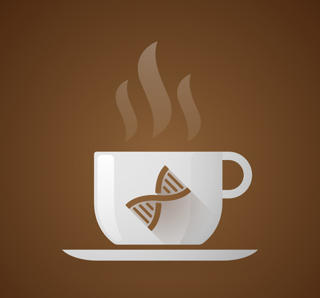 caffeine molecule: Illustration of a coffee cup with a DNA sign Illustration