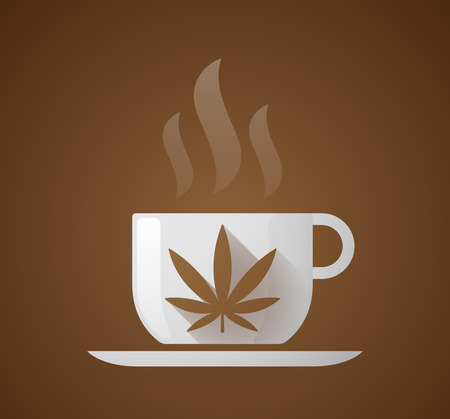 pot holder: Illustration of a coffee cup with a marijuana leaf Illustration