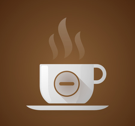 subtraction: Illustration of a coffee cup with a subtraction sign