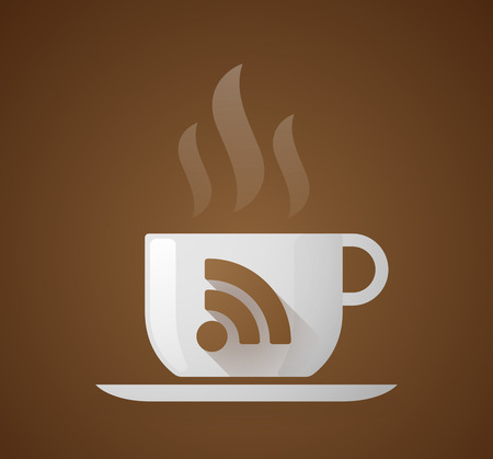 rss sign: Illustration of a coffee cup with a RSS sign