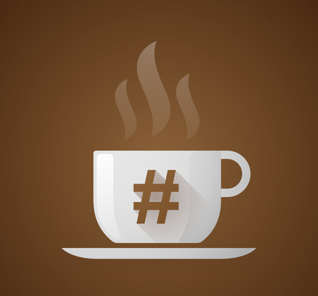 hash: Illustration of a coffee cup with a hash tag