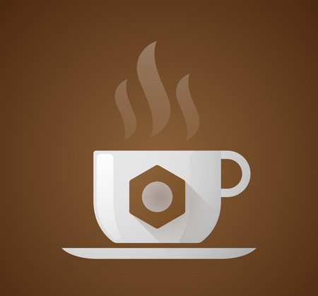 Illustration of a coffee cup with a nut Vector