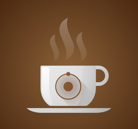 caffeine molecule: Illustration of a coffee cup with an atom