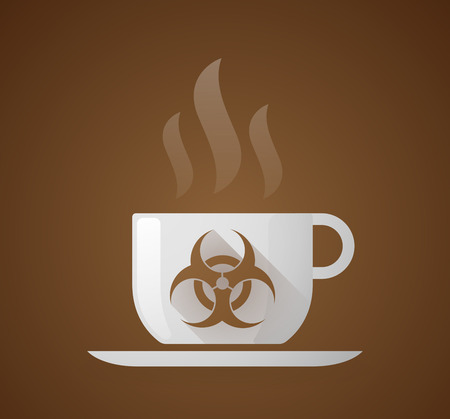 biohazard: Illustration of a coffee cup with a biohazard sign