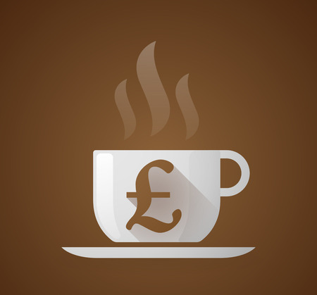 coffee background: Illustration of a coffee cup with a pound sign Illustration