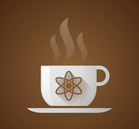 hot drinks: Illustration of a coffee cup with an atom