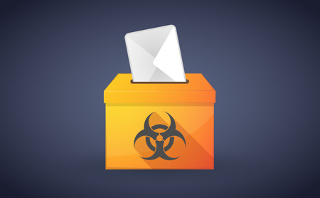 Illustration of a ballot box with a vote and a biohazard sign Vector