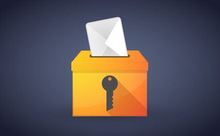 plebiscite: Illustration of a ballot box with a vote and a key
