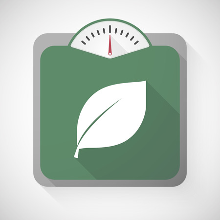 spring balance: Illustration of a weight scale with a leaf