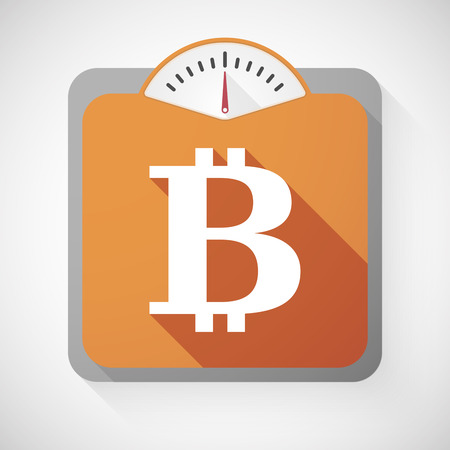 bit: Illustration of a weight scale with a bit coin sign Illustration