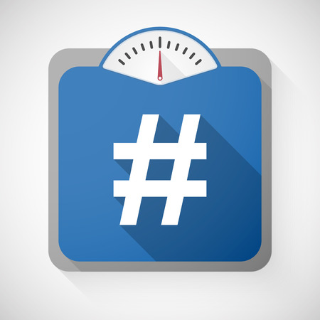 hash: Illustration of a weight scale with a hash tag