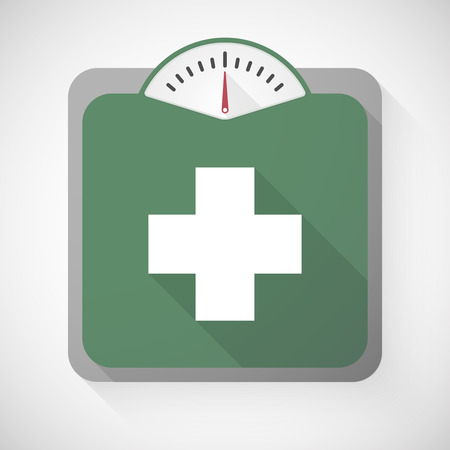 pharmacy sign: Illustration of a weight scale with a pharmacy sign Illustration