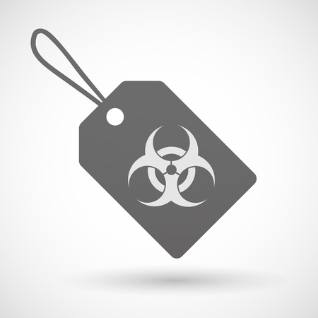 toxic product: Illustration of a shopping label icon with a biohazard sign Illustration