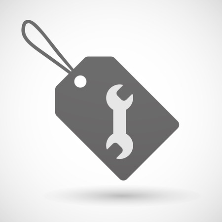 Illustration of a shopping label icon with a wrench Vector