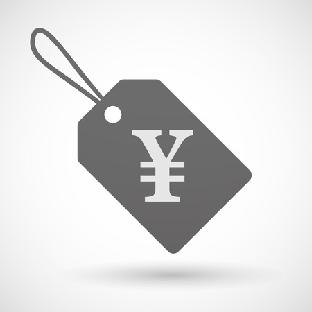 yen sign: Illustration of a shopping label icon with a yen sign