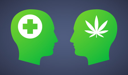 cross match: Illustration of a head set with a marijuana leaf and a pharmacy sign