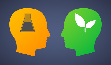 chemical warfare: Illustration of a head set with a chemical test tube and a plant