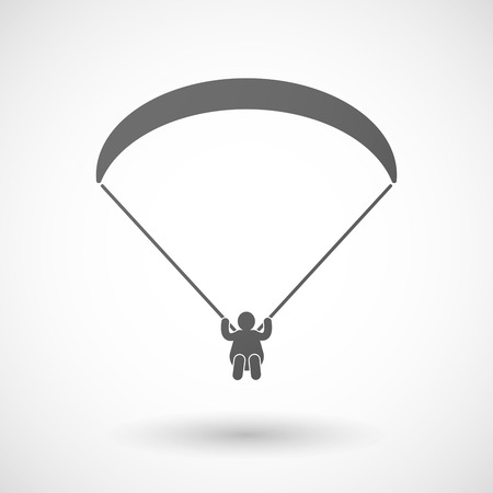 paragliding: Illustration of an isolated grey paraglider icon