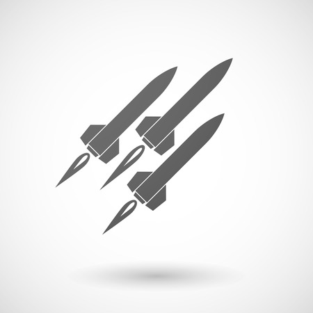 ballistic: Illustration of an isolated grey missile icon