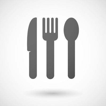 Illustration of an isolated grey cutlery icon