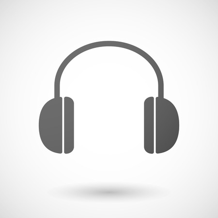 head phones: Illustration of an isolated grey hear phones icon
