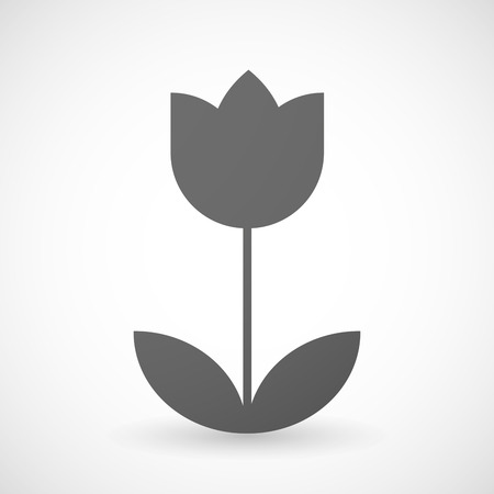 tulip flower: Illustration of an isolated grey tulip icon