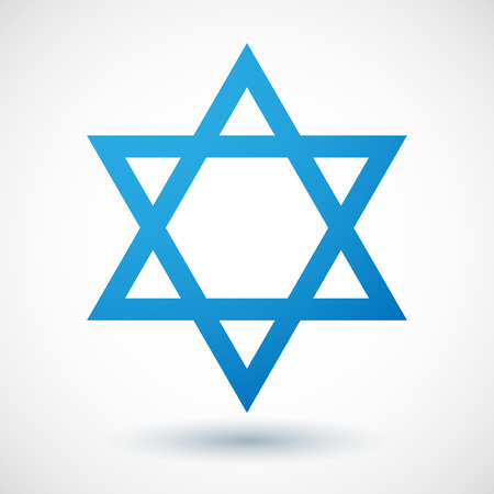 jews: Illustration of an isoladet blue david star icon