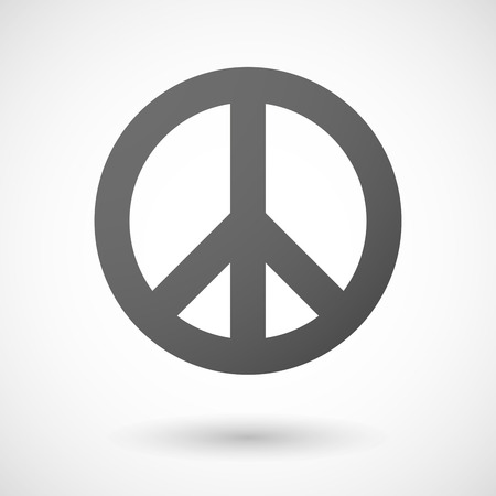 Illustration of an isolated grey peace sign