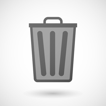 Illustration of an isolated grey trash can icon
