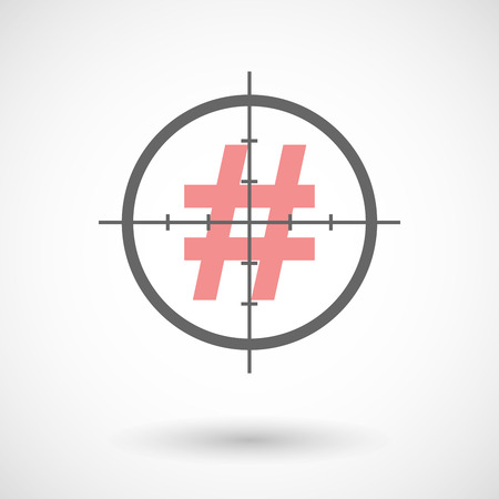 hash: Illustration of a crosshair icon with a hash tag Illustration