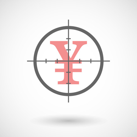 yen sign: Illustration of a crosshair icon with a yen sign