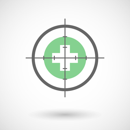 pharmacy sign: Illustration of a crosshair icon with a pharmacy sign