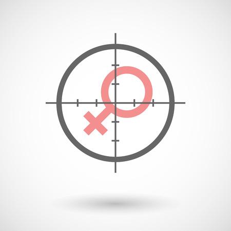 militaire sexy: Illustration d'une icône en forme de croix avec un signe féminin