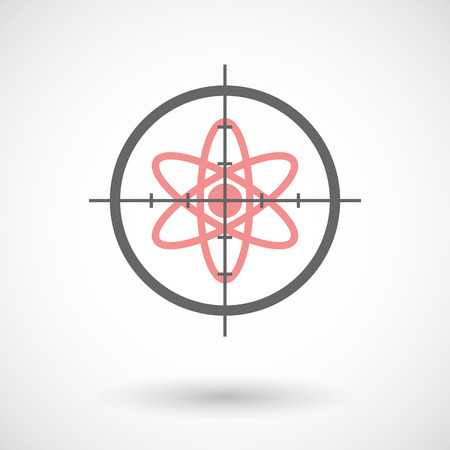 chemical weapons: Illustration of a crosshair icon with an atom