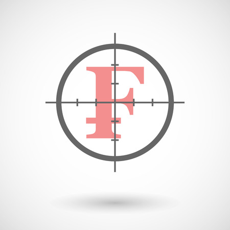 frank: Illustration of a crosshair icon with a swiss frank sign