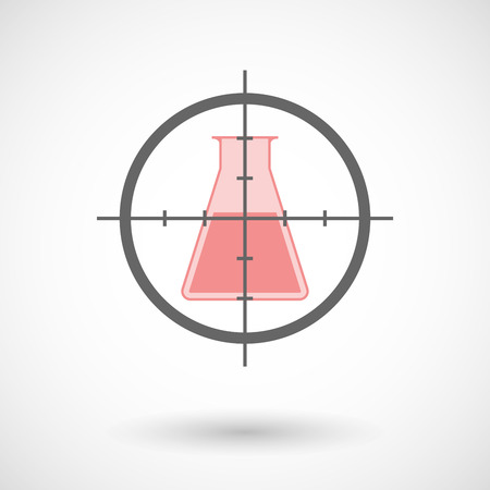 chemical weapon symbol: Illustration of a crosshair icon with a chemical test tube Illustration