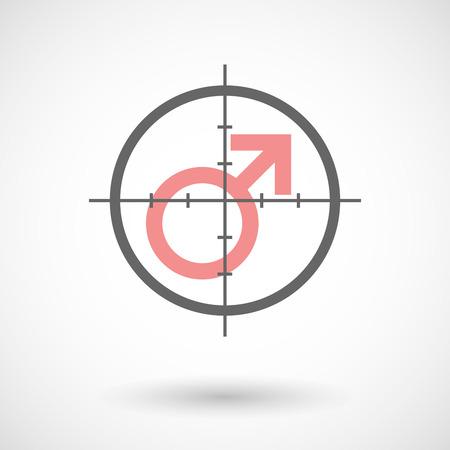 militaire sexy: Illustration d'une ic�ne en forme de croix avec un signe masculin