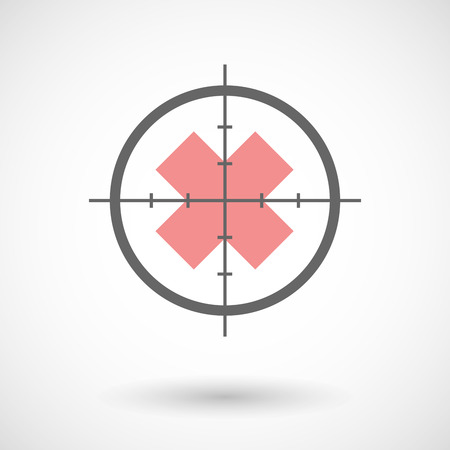 corrosive poison: Illustration of a crosshair icon with an irritating substance sign Illustration
