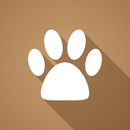 animal shadow: Illustration of a long shadow animal footprint icon Illustration