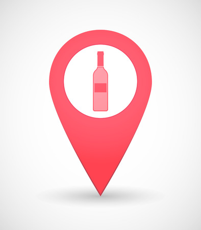 map wine: Illustration of a map mark icon with a bottle of wine
