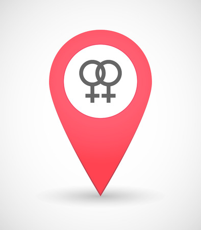 sex positions: Illustration of a map mark icon with a female sign Illustration