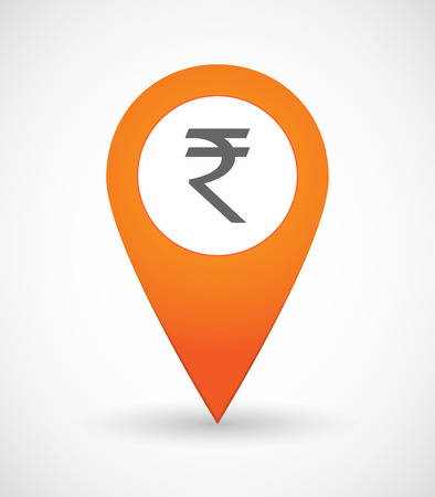 financial position: Illustration of a map mark icon with a rupee sign