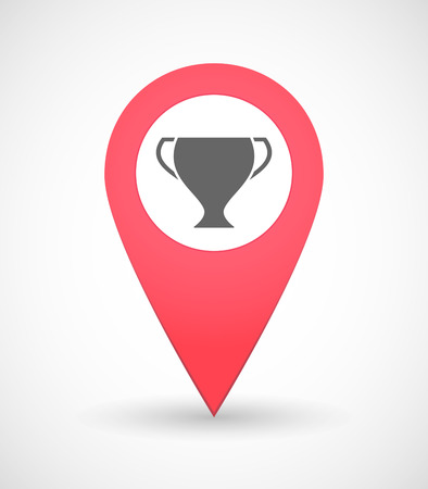 winning location: Illustration of a map mark icon with an award cup