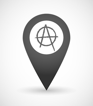 anarchist: Illustration of a map mark icon with an anarchy sign