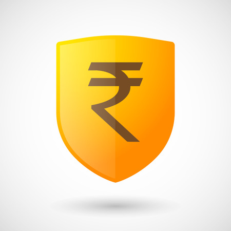 money background: Illustration of a shield icon with a rupee sign
