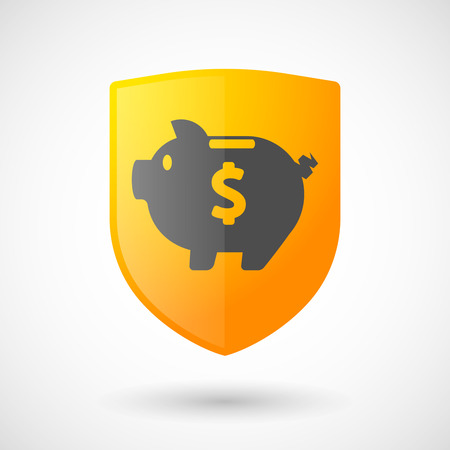 Illustration of a shield icon with a piggy bank Vector
