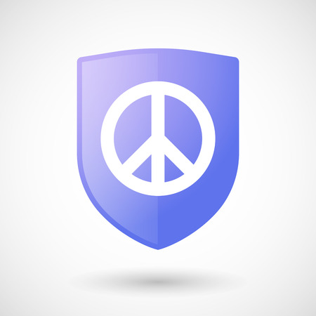 pacifist: Illustration of a shield icon with a peace sign