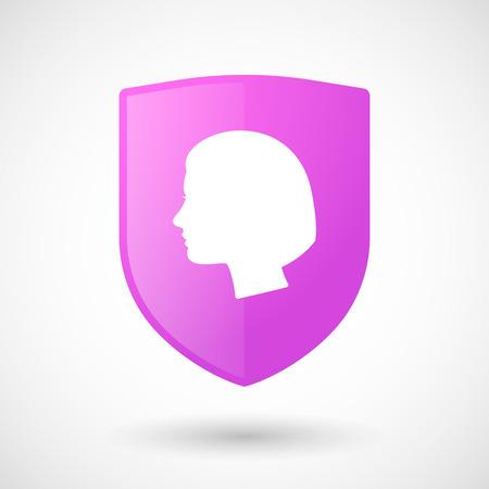 cabeza femenina: Ilustraci�n de un icono del escudo con una cabeza femenina