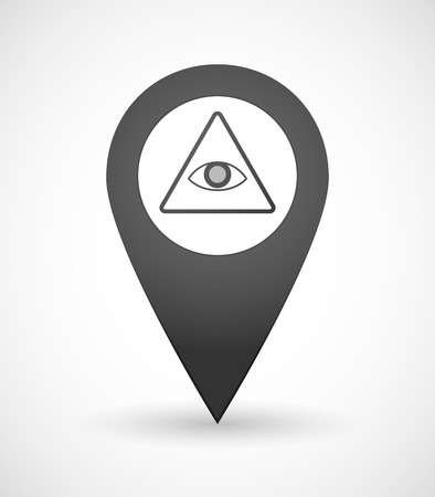 all seeing eye: Illustration of a map mark icon with an All Seeing Eye sign