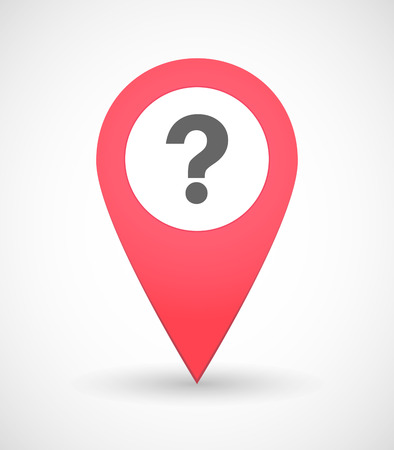 interrogation point: Illustration of a map mark icon with a question sign